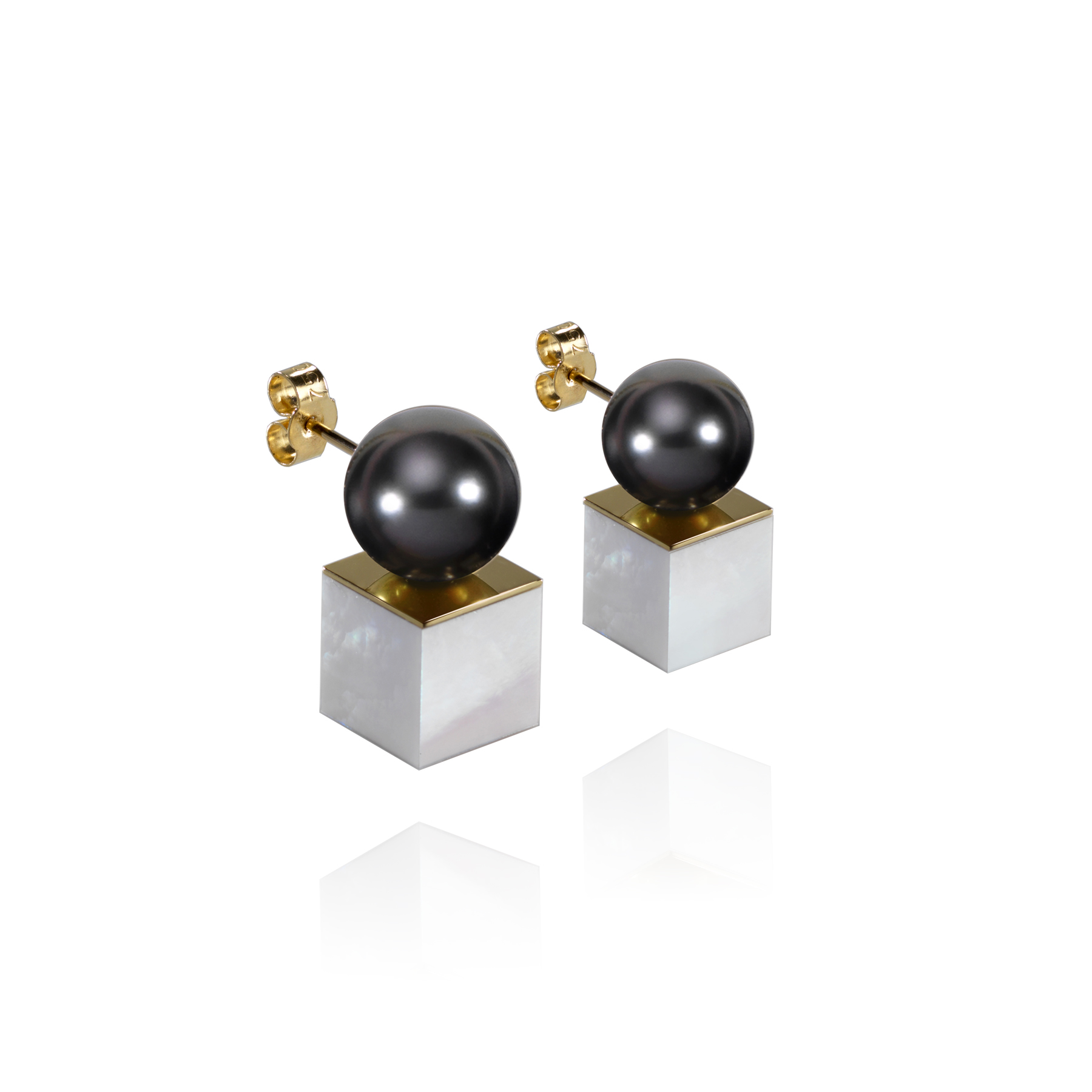 MOP Cube Stud Earrings (Image Courtesy of Melanie Georgacopoulos)