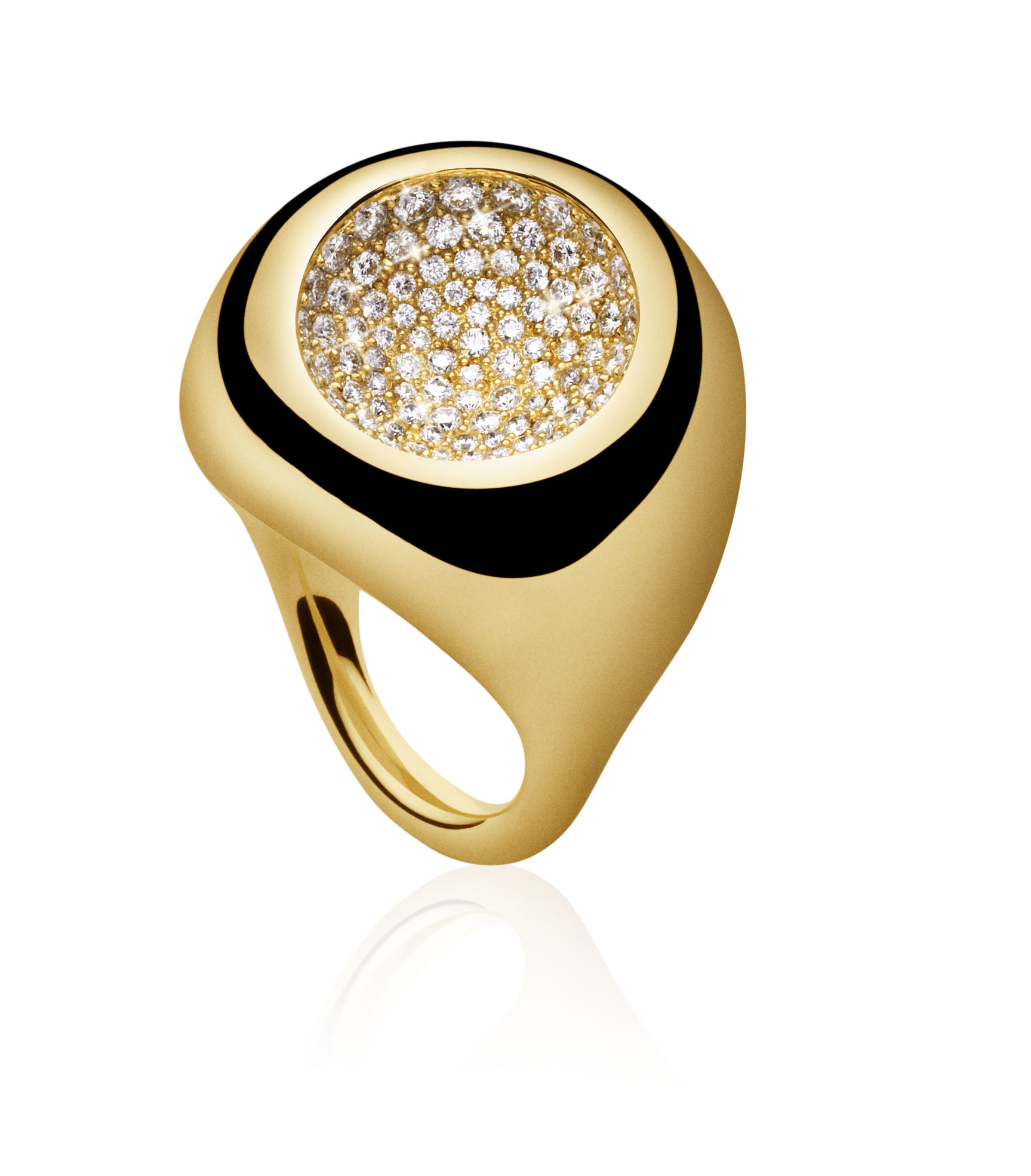 Cave Ring,  Yellow Gold and Pave Diamonds. Jacqueline Rabun for Georg Jensen. Image Courtesy of J Rabun
