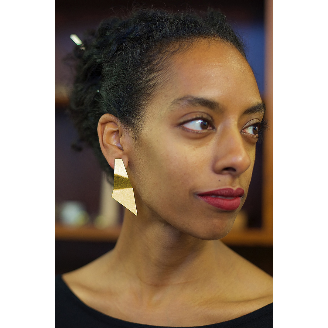 Shadows Earrings in Bi-Metal (recycled silver and Fairtrade Gold) Image: Jamie Trounce