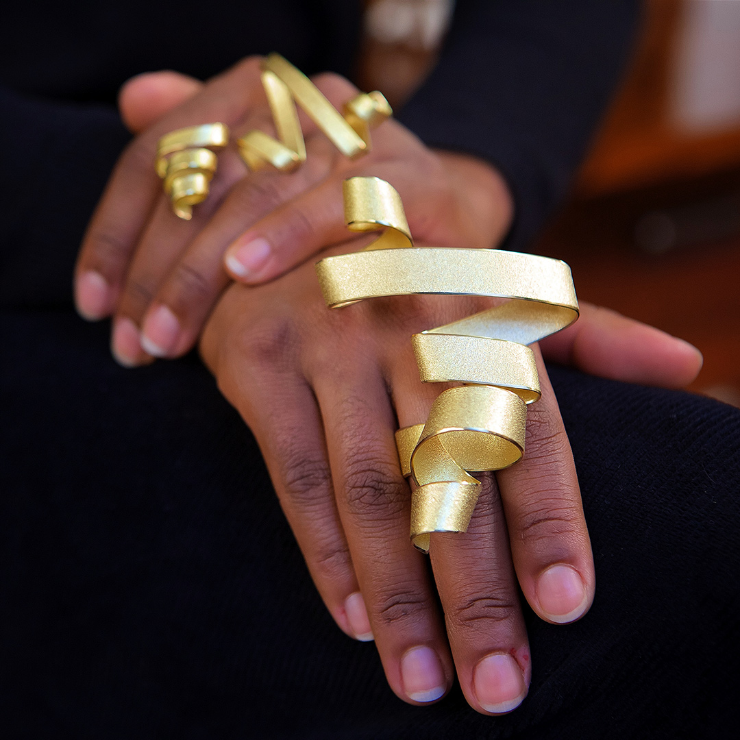 Calligraphy Rings in Fairtrade Gold. Image: Jamie Trounce