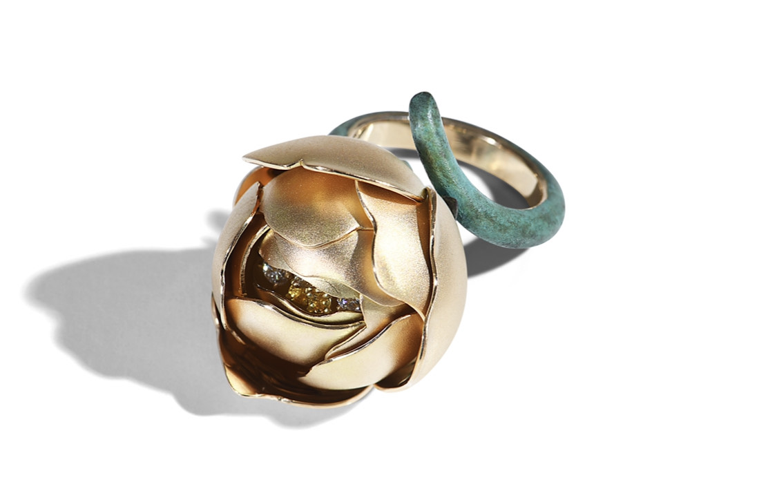 Globe Ring: Yellow Gold, Patinated Bronze, Yellow Sapphires and Diamonds:. Image Courtesy of E. Tarpin