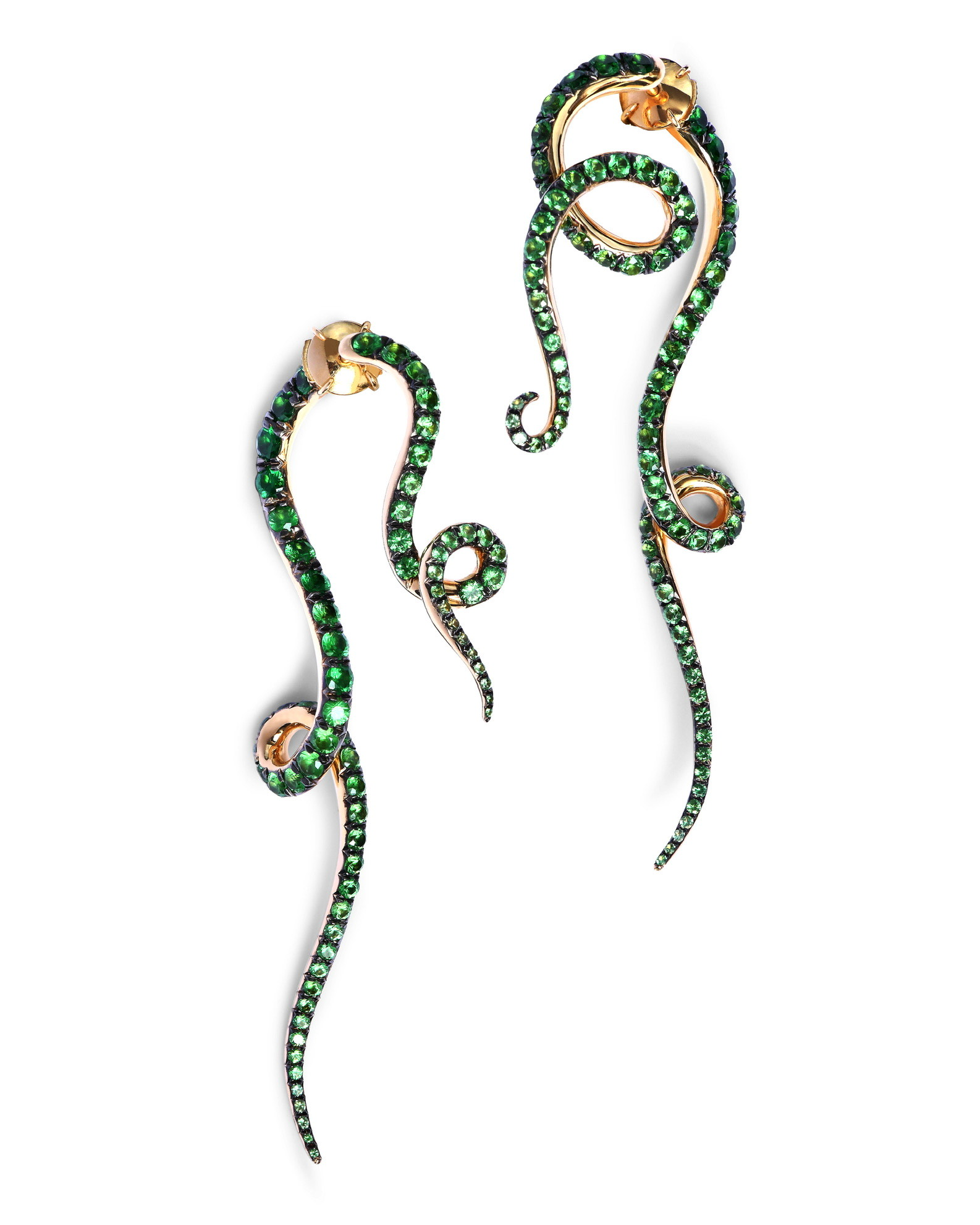 Beanstalk Earrings: Yellow Gold, Tsavorites and Garnets. Image Courtesy of Emmanuel Tarpin