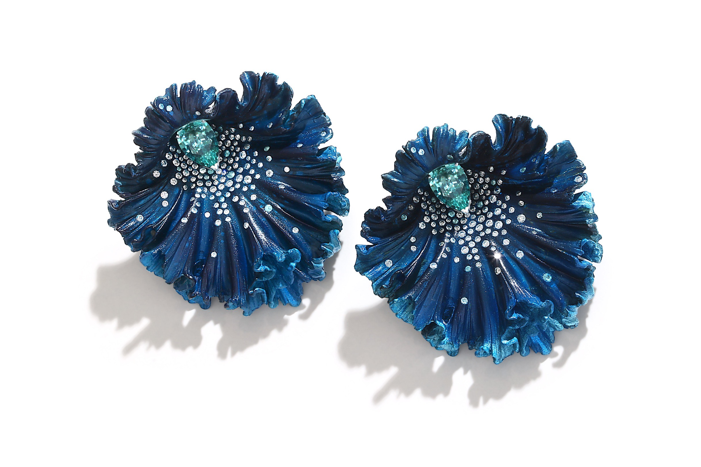 Blue Orchid Earrings. Aluminium, Diamonds and Aquamarine. Image Courtesy of Emmanuel Tarpin