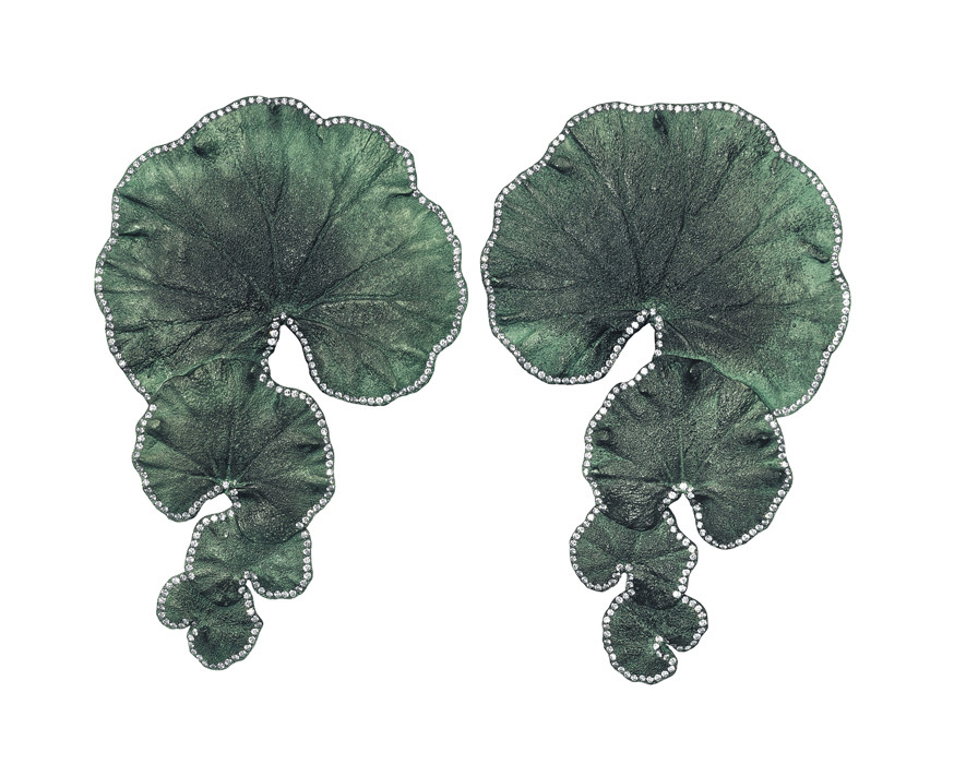 Geranium Ear Pendants: Aluminium and Diamonds. Image Courtesy of Emmanuel Tarpin