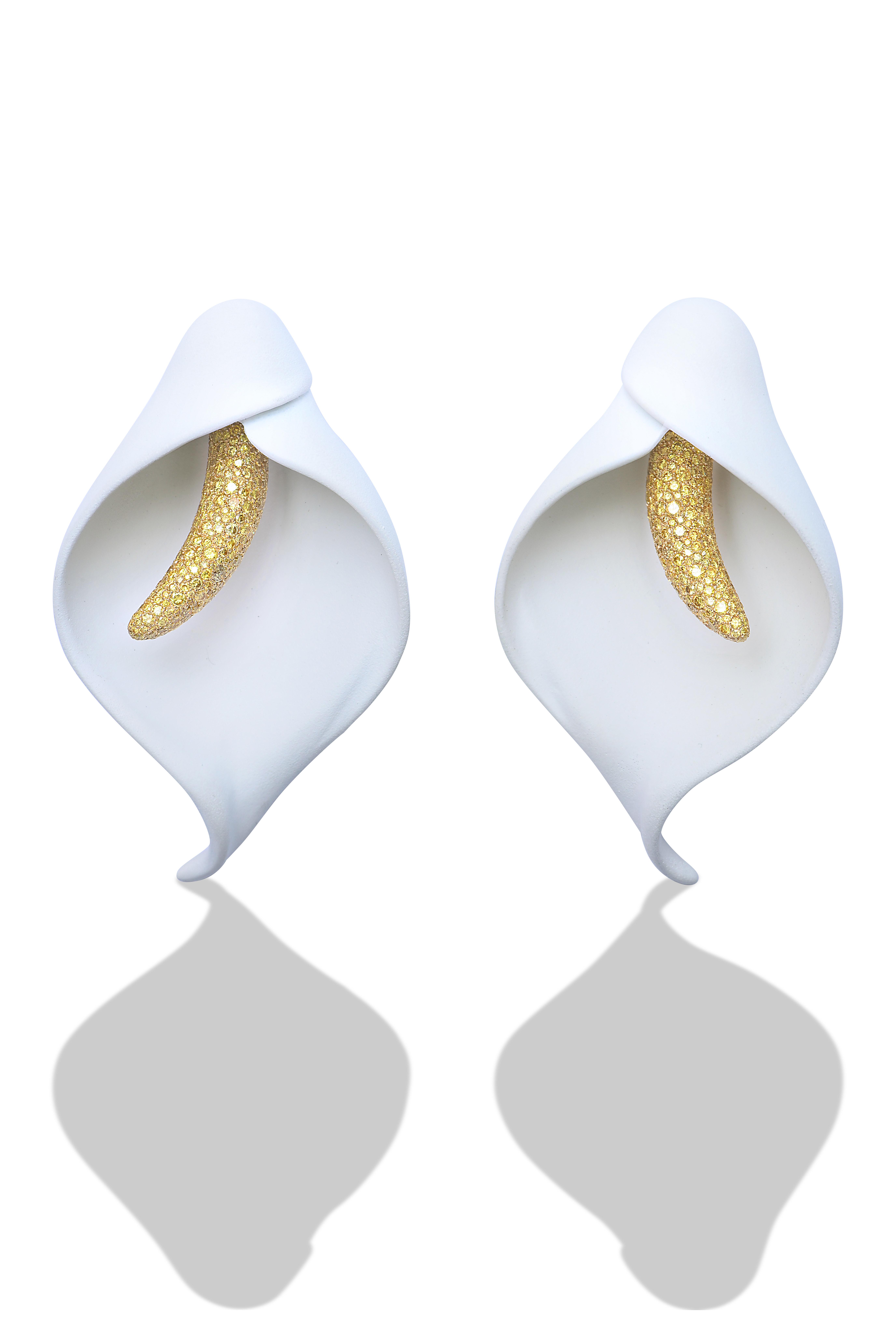 Arum Lily Earrings: Aluminium and Yellow Diamonds. Image Courtesy of Emmanuel Tarpin