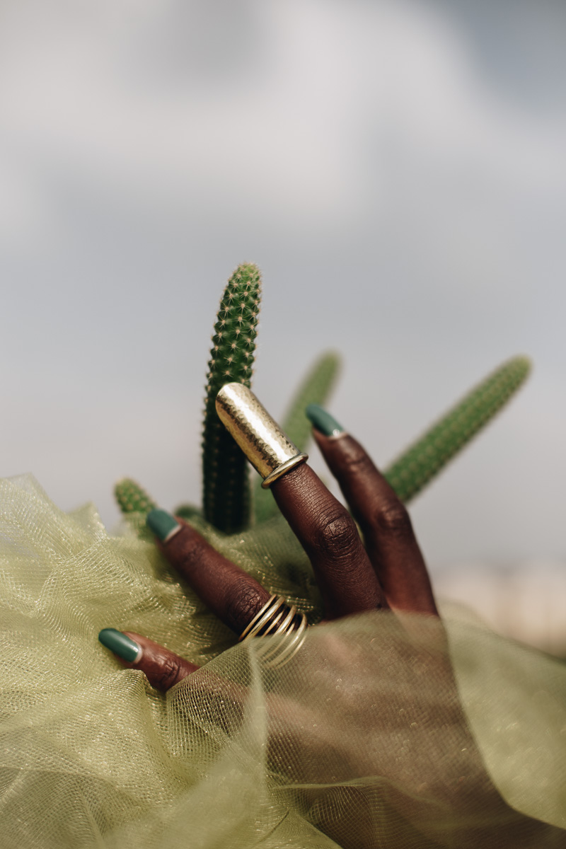 Kidole Kiboko (finger hip) finger piece and Saba Pete (seven rings) ring in Brass. Photo Courtesy of Theresia Kyalo