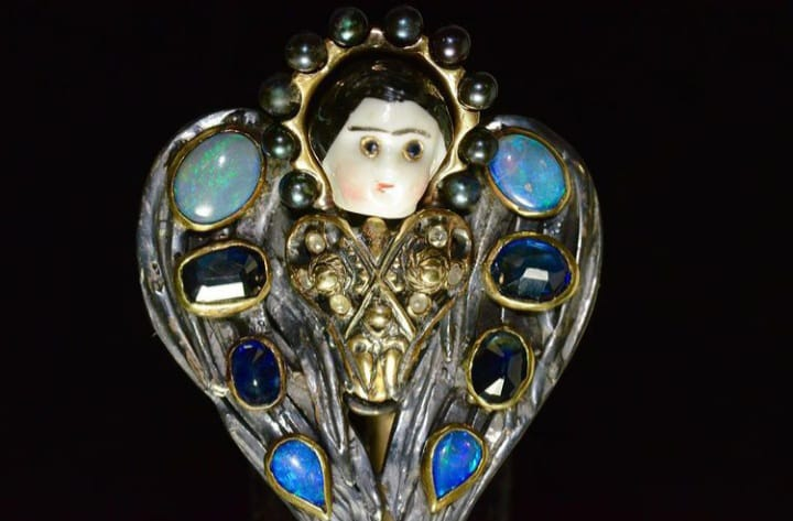 Antique Porcelain Doll, Sapphires, Opals, Diamonds Image Courtesy of Castro NYC