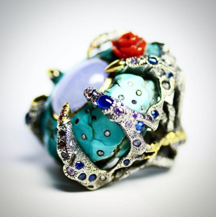 Decay Ring Turquoise, Lavender Jadeite, Turquoise, Diamonds, Coral, Sapphire, Ruby. Image Courtesy of Castro NYC