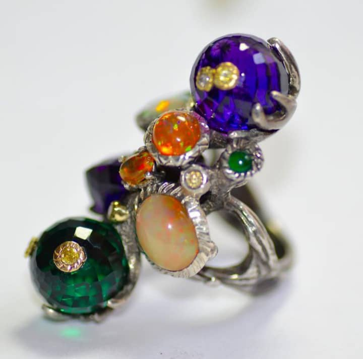 Fruit of the Loom Ring: Opals,, Amethyst, Tsavorites, Emeralds, Ruby. Image Courtesy of Castro NYC