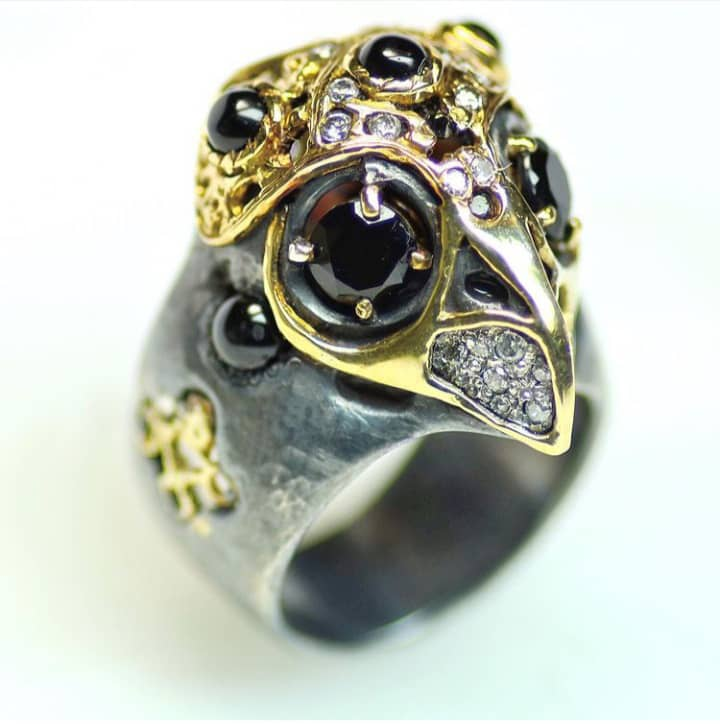 Owl Ring, Mixed Metals, Ruby, Diamonds. Image Courtesy of Castro NYC
