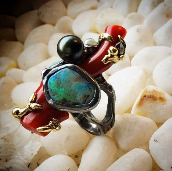 Pebble Ring, Coral, Opals Image Courtesy of Castro NYC